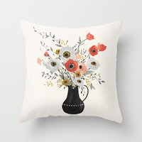 poppies Throw Pillows featuring Poppies by Kelli Murray