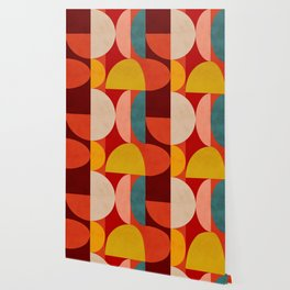 shapes of red mid century art Wallpaper