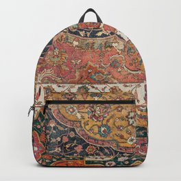 Persian Medallion Rug IX // 16th Century Distressed Red Green Blue Flowery Colorful Ornate Pattern Backpack