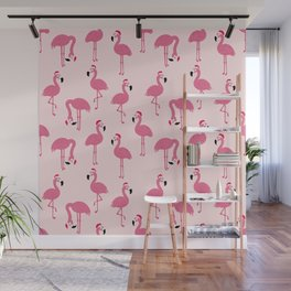 Flock of Christmas Flamingos Wall Mural