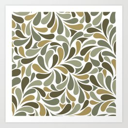 Tropical Green Botanical Tree Leaves Abstract Pattern Art Print
