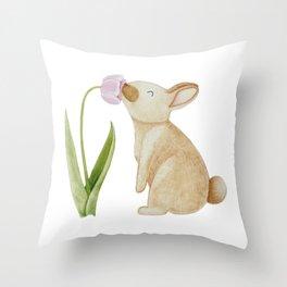 Bunny smelling a Tulip Throw Pillow