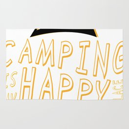 Camping Is My Happy Place Camper Funny Rug