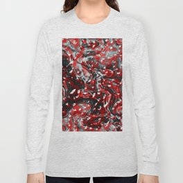 Red and Black Abstract Liquid Gore Pattern Long Sleeve T-shirt