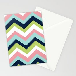 Chevron Pattern Navy Pink Aqua Lime Stationery Cards