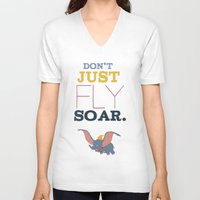 dumbo V-neck T-shirts featuring don't just fly, soar, dumbo by studiomarshallarts
