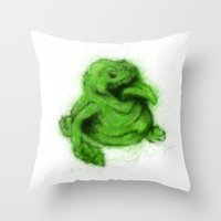 ghostbusters Throw Pillows featuring Ghostbusters Slimer by KitschyPopShop