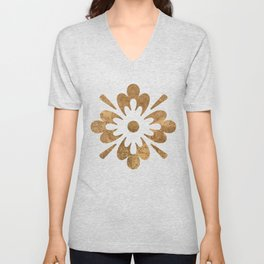 Abstract gold paper Unisex V-Neck