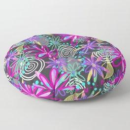 Dotty Flowers in hot pink, aqua & grey Floor Pillow