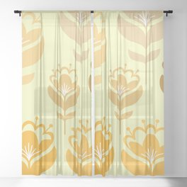 Scandinavian Florals Yellow Palette  Sheer Curtain