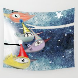 Birds following the stars Wall Tapestry