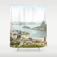 rio de janeiro Shower Curtains featuring Rio de Janeiro by miloezger
