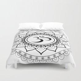 Om Mandala White & Black Duvet Cover