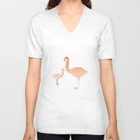flamingo V-neck T-shirts featuring FLAMINGO by ARCHIGRAF