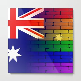 Gay Rainbow Wall Australian Flag Metal Print