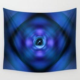 Blue spinning atom Wall Tapestry
