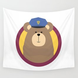 Police Officer Brown Bear in cirlce Wall Tapestry