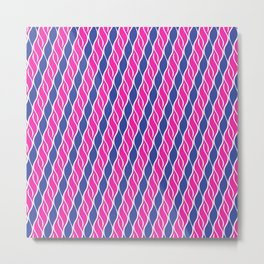 Bright Pink and Blue Stripes Metal Print