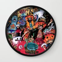 one piece Wall Clocks featuring Halloween in One Piece by Borsalino