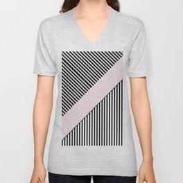 Chic black white baby pink trendy stripes Unisex V-Neck