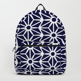 Asanoha Pattern - White on Navy Backpack