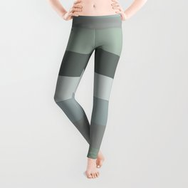 Green pastel colours geometric horizontal lines pattern for home decoration Leggings