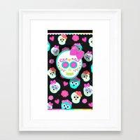 sugar skulls Framed Art Prints featuring Sugar skulls by Eviedoll