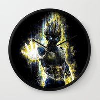 dbz Wall Clocks featuring The Prince of all fighters by Barrett Biggers