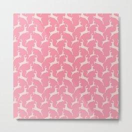 Pink Jumping Christmas Deer Pattern Metal Print