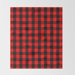Classic Red and Black Buffalo Check Plaid Tartan Throw Blanket