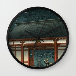 Starry Night at Temple, Ukiyo-e Wall Clock