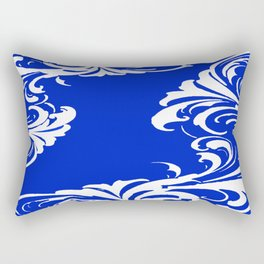 Damask Blue and White Rectangular Pillow