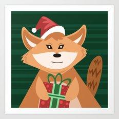 Christmas Fox -version 2 Art Print