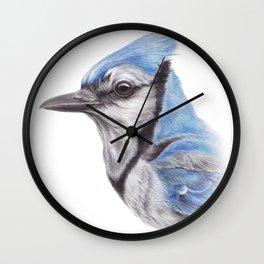 Blue Jay - CYANOCITTA CISTATA By Magda Opoka Wall Clock