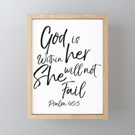 God is Within Her She Will Not Fail Psalm 16:5 Woman Bible Scripture Framed Mini Art Print