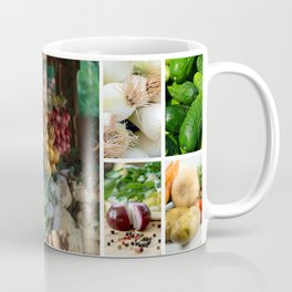 Drying Onions and Vegetable Collage - Kitchen Decor Coffee Mug