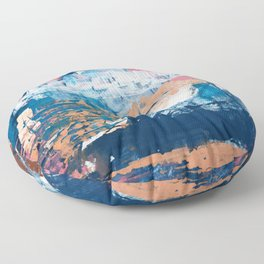 Rock and Roll Soul: a vibrant abstract contemporary painting by Alyssa Hamilton Art in pinks and blues Floor Pillow