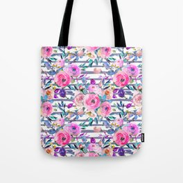 Pink mauve lilac hand painted watercolor roses floral stripes Tote Bag