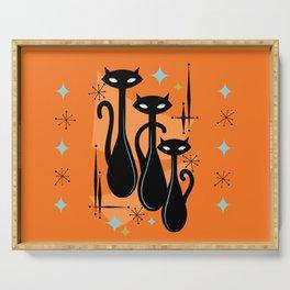 Effervescent Orange Atomic Age Black Kitschy Cat Trio Serving Tray