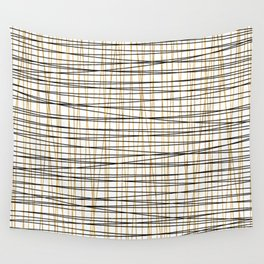 Line Art - Gold and Black Lines on White - Mix and Match with Simplicty of Life Wall Tapestry