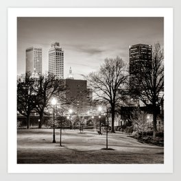 Tulsa Oklahoma Skyline From Centennial Park - Square Sepia Art Print