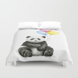 Panda Baby with Heart-Shaped Balloons Whimsical Animals Nursery Decor Duvet Cover
