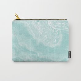 Moki - pastel mint spilled ink japanese watercolor paper marbling marble trendy abstract painting  Carry-All Pouch