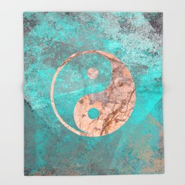 Yin Yang - Rose Turquoise Marble Throw Blanket
