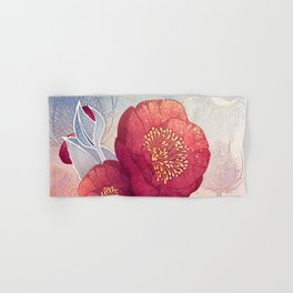 Christmas Roses :: Red Petals, Frosted Leaves Hand & Bath Towel