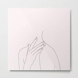 Figure line drawing illustration - Danna Natural Metal Print