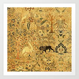 Antique Persian Tabriz Animal Rug Print Art Print