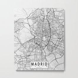 Madrid City Map of Spain - Light Metal Print