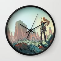 brand new Wall Clocks featuring Brand new world by LaurenceBaldetti