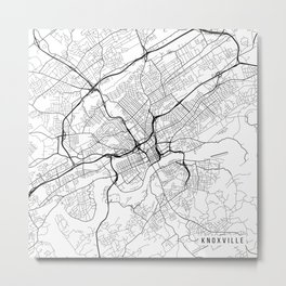 Knoxville Map, USA - Black and White Metal Print